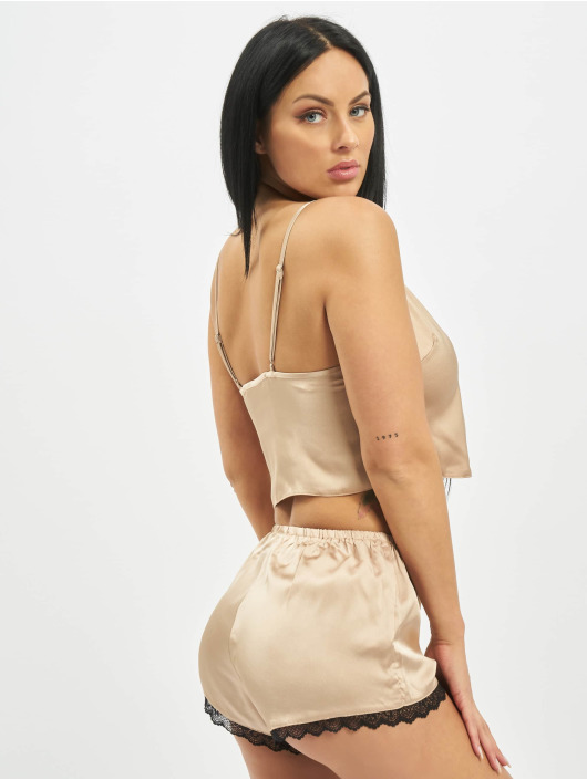 Missguided Underwear Playboy Satin Lace Trim Cami gold colored