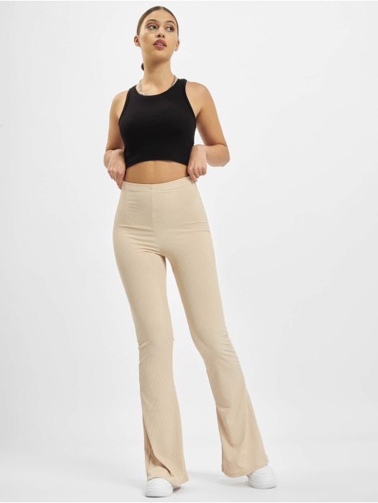 Missguided Verryttelyhousut Ribbed Flare beige