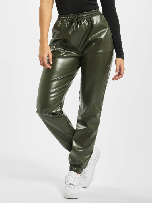 Missguided Verryttelyhousut Faux Leather khakiruskea