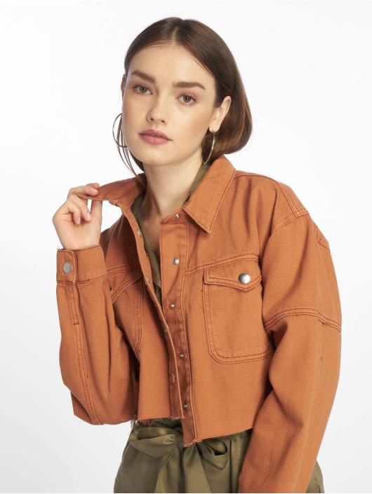Missguided Veste Jean Contrast Stitch Cropped brun