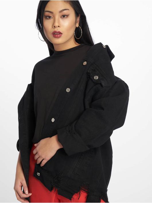 Missguided Veste Jean Longline Distressed noir