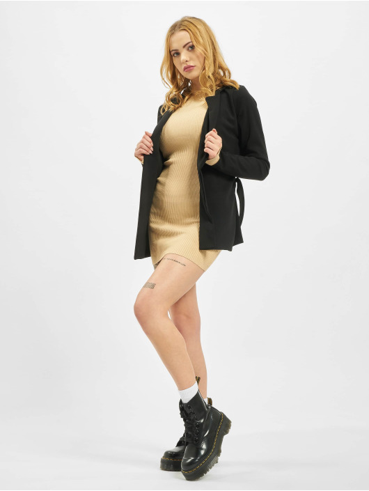 Missguided Vestido Crew Neck Ribbed beis