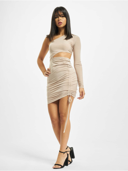Missguided Vestido Slinky One Shoulder Cut Out Mini beis