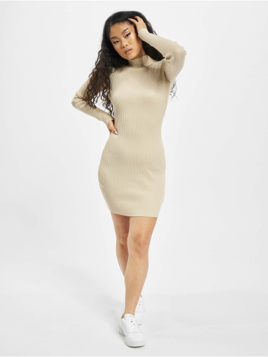 Missguided Vestido High Neck Knitted Min beis
