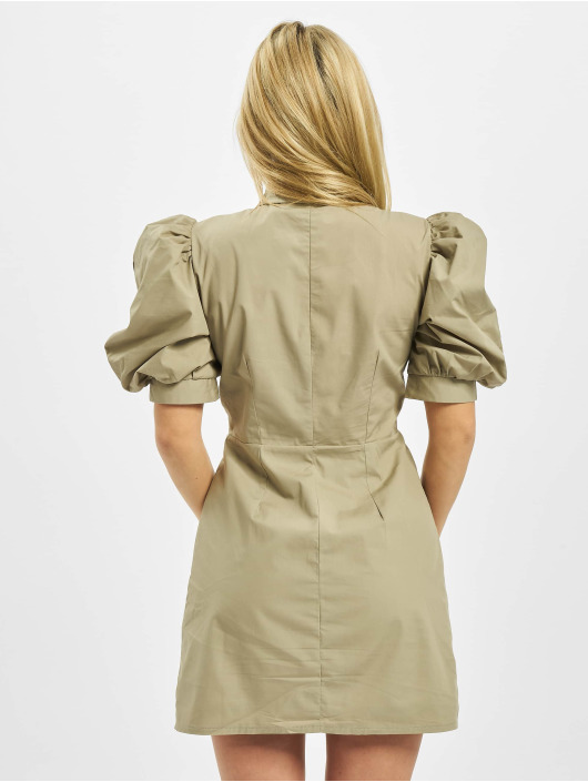 Missguided Vestido Poplin Puff Sleeve Utilty Shirt caqui