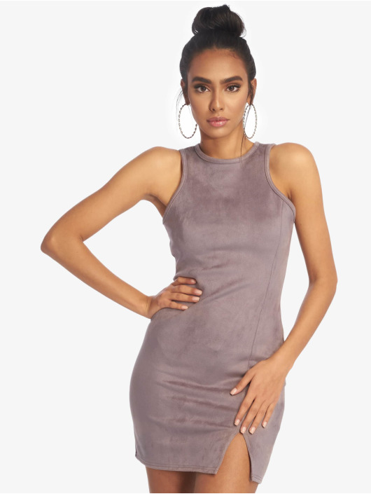 Missguided Vestido Bonded Suede Split Side Mini gris