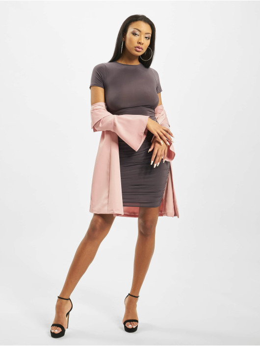 Missguided Vestido Slinky Ruched Short Sleeve gris