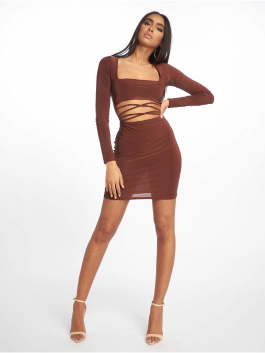 Missguided Vestido Cut Out Slinky Long Sleeve Mini marrón