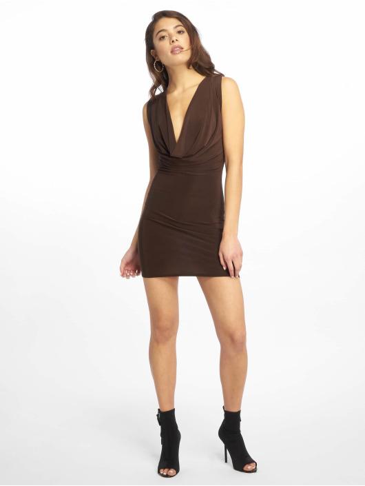 Missguided Vestido Double Layer Deep Cowl Mini marrón