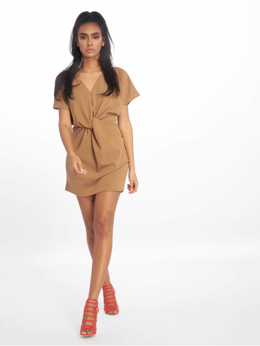 Missguided Vestido Knot Front Shift marrón