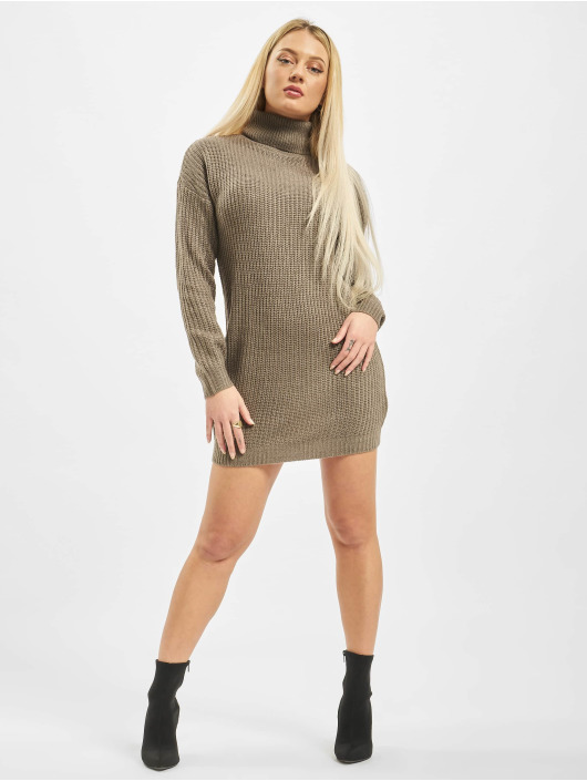 Missguided Vestido Roll Neck Basic marrón