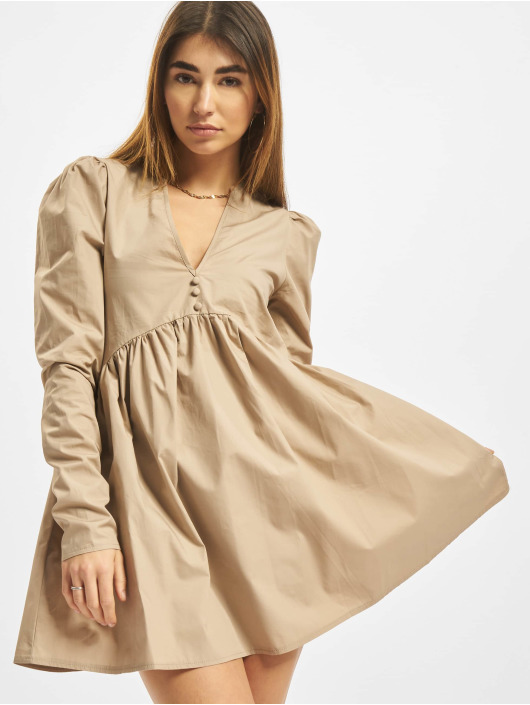 Missguided Vestido Poplin V Neck Button Front Smock marrón