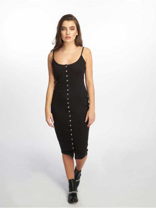 Missguided Vestido Strappy Ribbed Popper negro