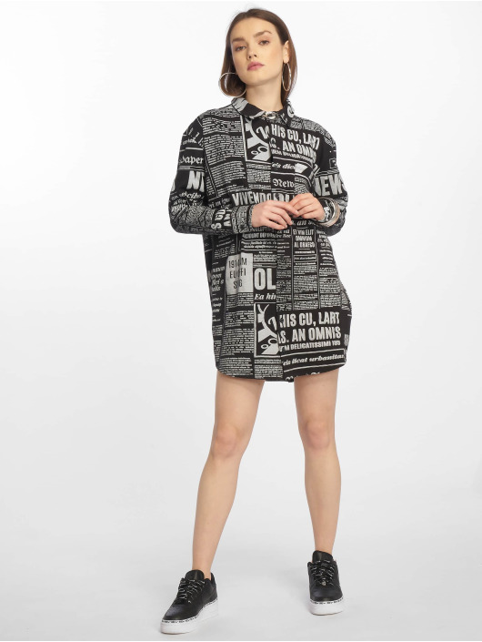 Missguided Vestido Oversized Jersey Shirt Newspaper negro