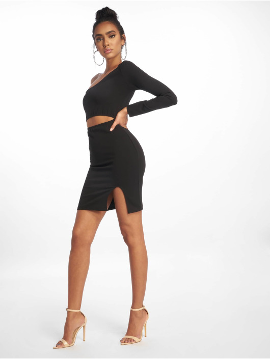 Missguided Vestido One Shoulder Cut Out Mini negro