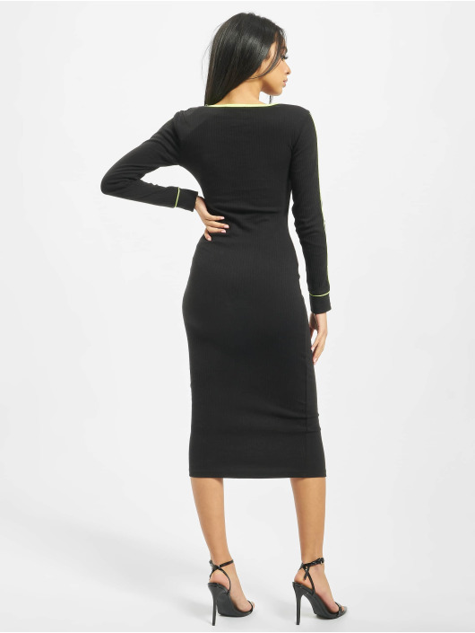 Missguided Vestido Ribbed Scoop Neck Longsleeve Piped Midi negro