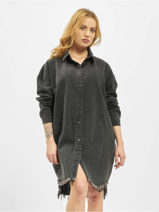 Missguided Vestido Oversized Denim negro