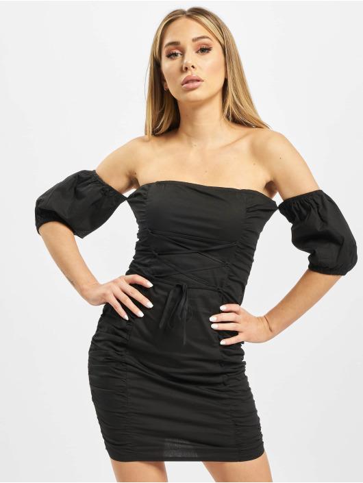 Missguided Vestido Cotton Poplin Ruched negro