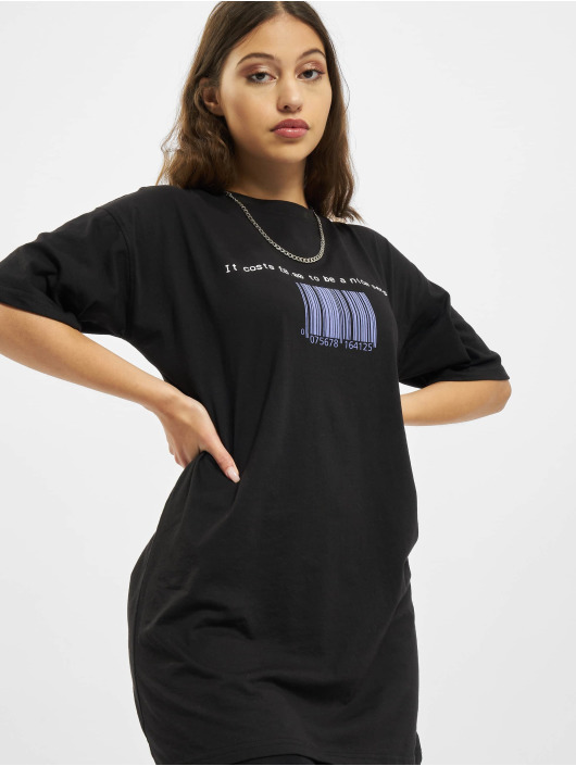 Missguided Vestido Oversized Tshirt Short Sleeve Barcode negro