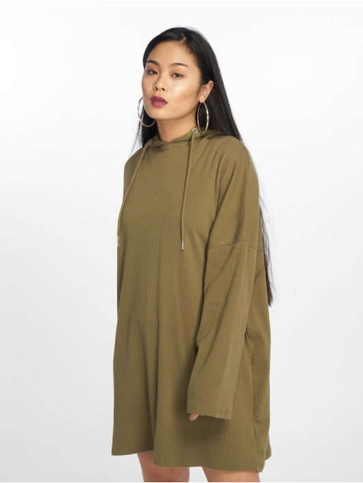 Missguided Vestido Oversized Hooded Ribbed oliva
