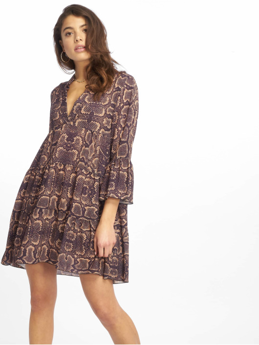 Missguided Vestido Long Sleeve Smock Snake púrpura