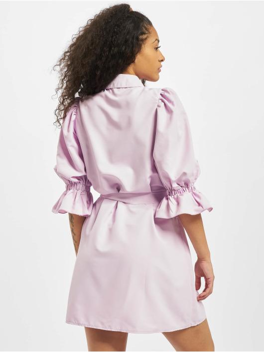 Missguided Vestido Puff Sleeve Belted Mini Shirt púrpura
