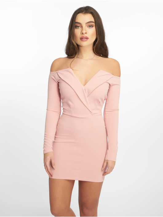 Missguided Vestido Bardot Foldover Wrap rosa