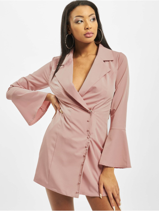 Missguided Vestido Asym Button Side Blazer rosa