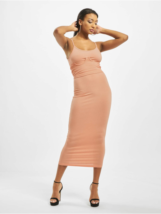 Missguided Vestido Rib Underbust Corset rosa