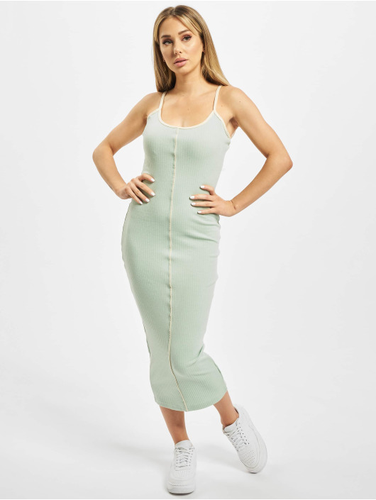 Missguided Vestido Contrast Piping Ribbed verde