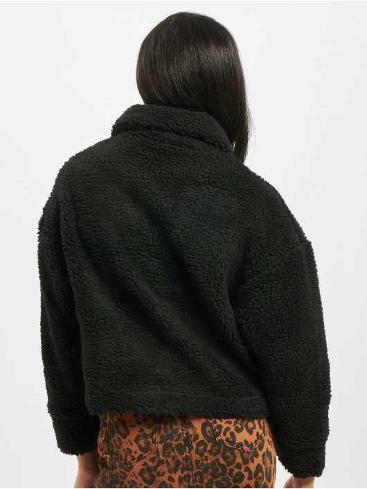 Missguided Winter Jacket Crop Borg Trucker black