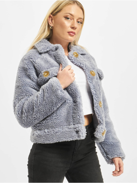 Missguided Winter Jacket Crop Borg Trucker With Contrast Buttons blue