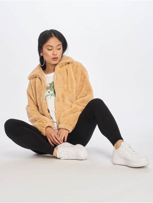 Missguided Winterjacke Faux Fur beige