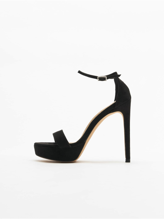 Missguided Zapatos de tacón Simple Strap Platform Faux Suede negro