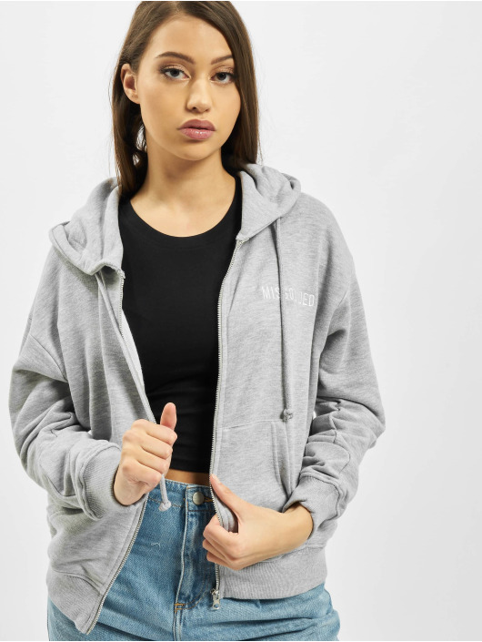 Missguided Zip Hoodie Through серый