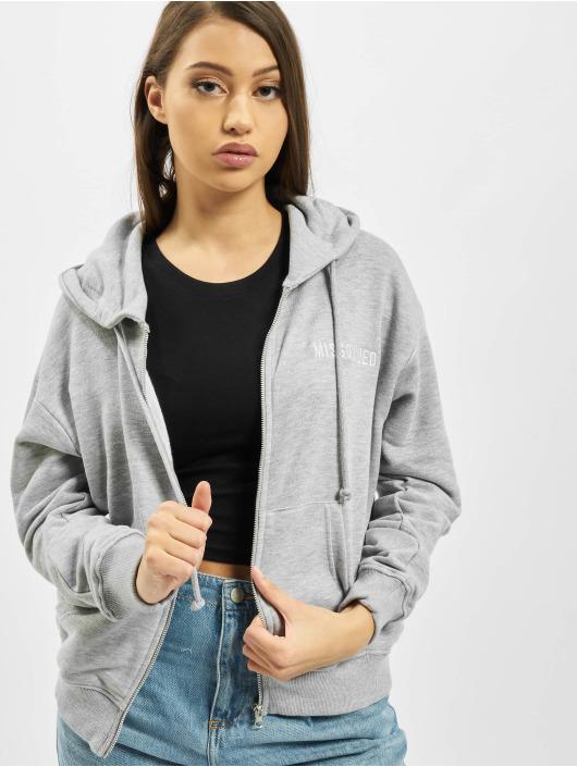 Missguided Zip Hoodie Through grå
