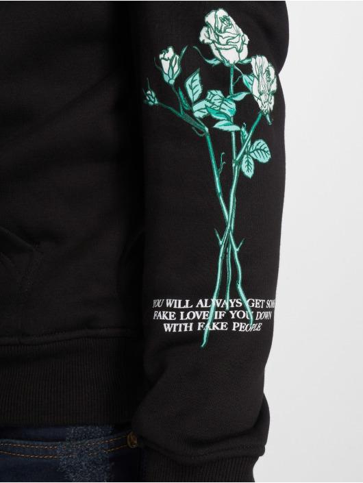 Mister Tee Bluzy z kapturem Rose Fake Love czarny