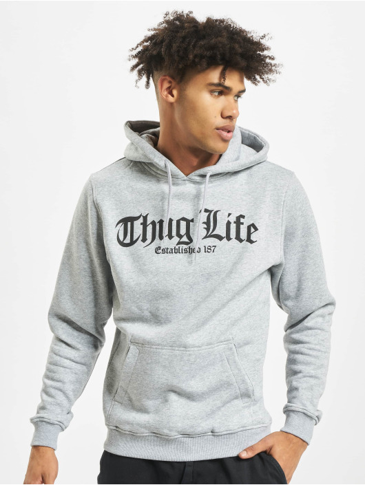 Mister Tee Hoodie Thug Life Old English grey