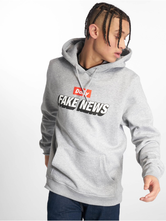 Mister Tee Hoody Fake News grau