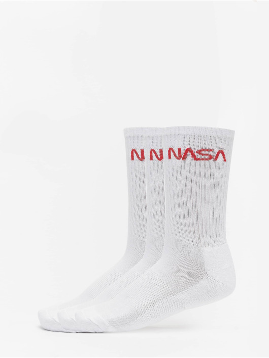 Mister Tee Ponožky NASA Worm Logo 3-Pack biela