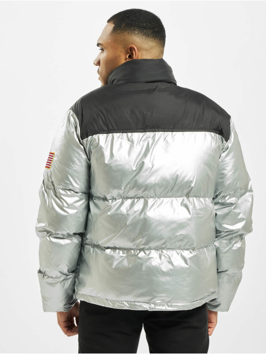 Mister Tee Puffer Jacket Nasa Two-Toned silver colored