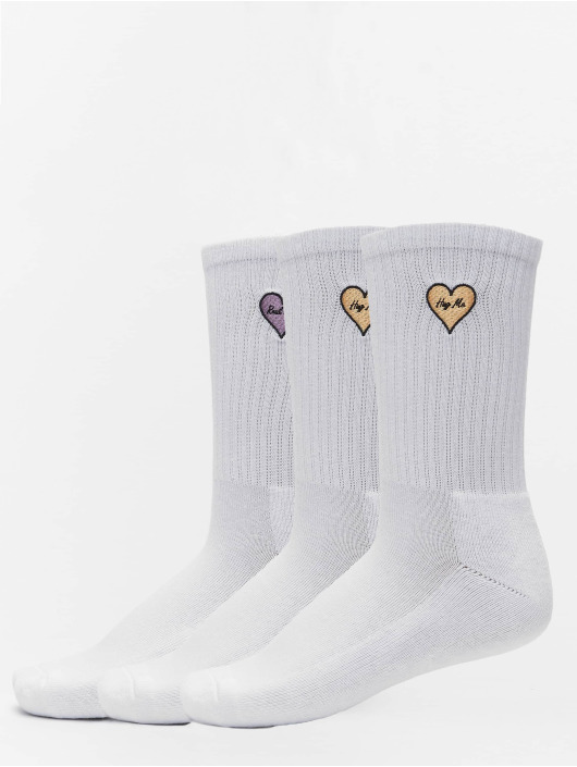 Mister Tee Sokken Heart Embroidery 3 Pack wit