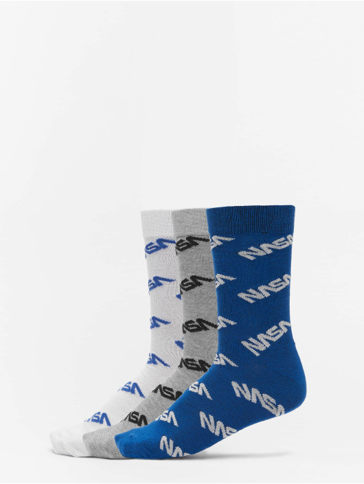 Mister Tee Sukat Nasa Allover Socks 3-Pack sininen
