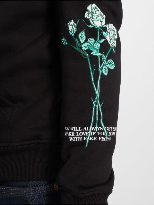 Mister Tee Sweat capuche Rose Fake Love noir