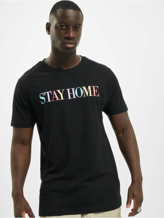 Mister Tee T-paidat Unisex Stay Home Wording musta