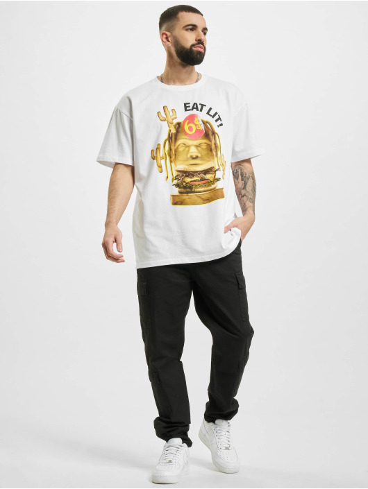Mister Tee T-paidat Eat Lit Oversize valkoinen