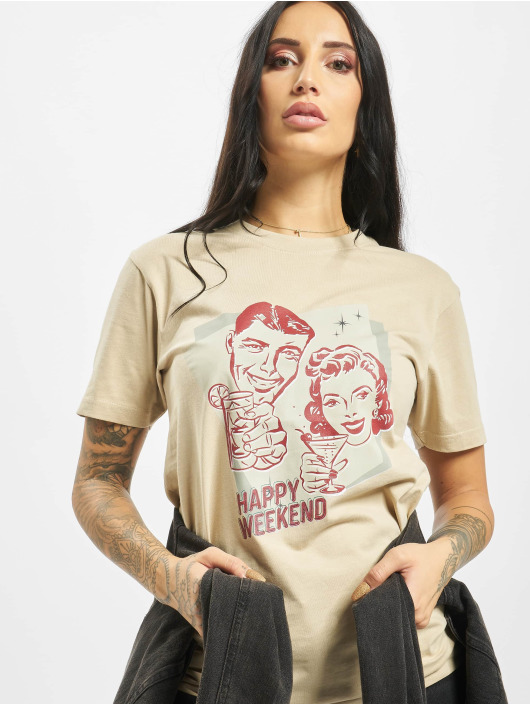 Mister Tee T-Shirt Happy Weekend beige