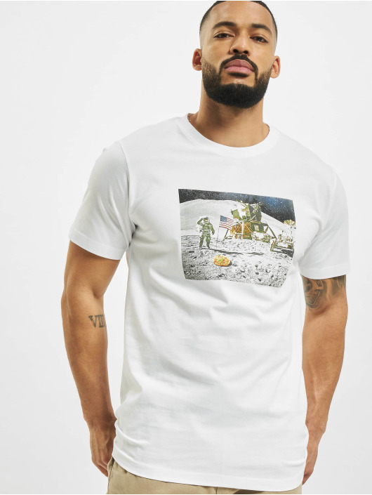 Mister Tee T-shirt Pizza Moon Landing bianco