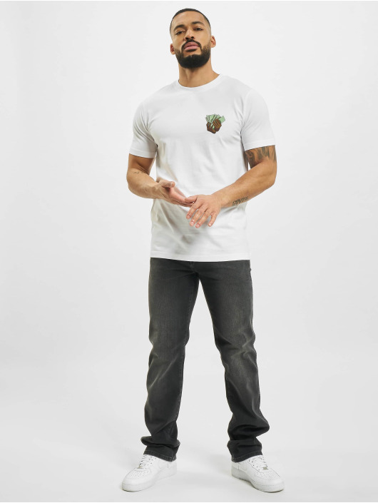 Mister Tee T-shirt Make Money Not Friends bianco