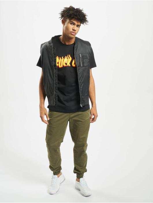 Mister Tee T-Shirt Fuck Off Flames black
